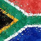 «Bandera de Sudáfrica Acción Pintura - Grunge Desordenado» de Garyck Arntzen