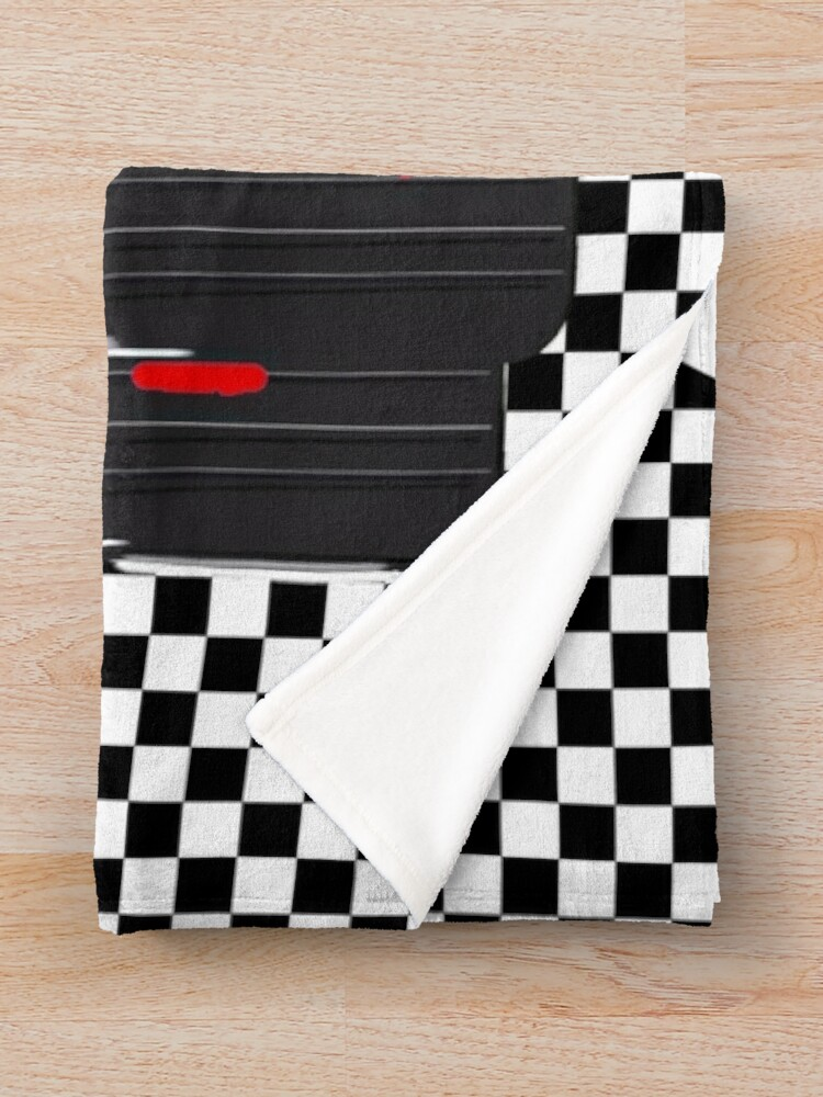 Alternate view of Red  Race Car with Checkered Flag Throw Blanket
