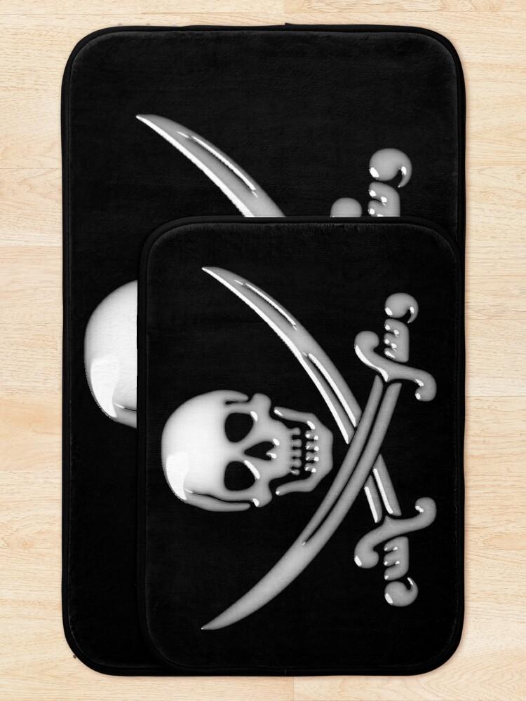 Alternate view of Glassy Pirate Skull & Sword Crossbones  Bath Mat