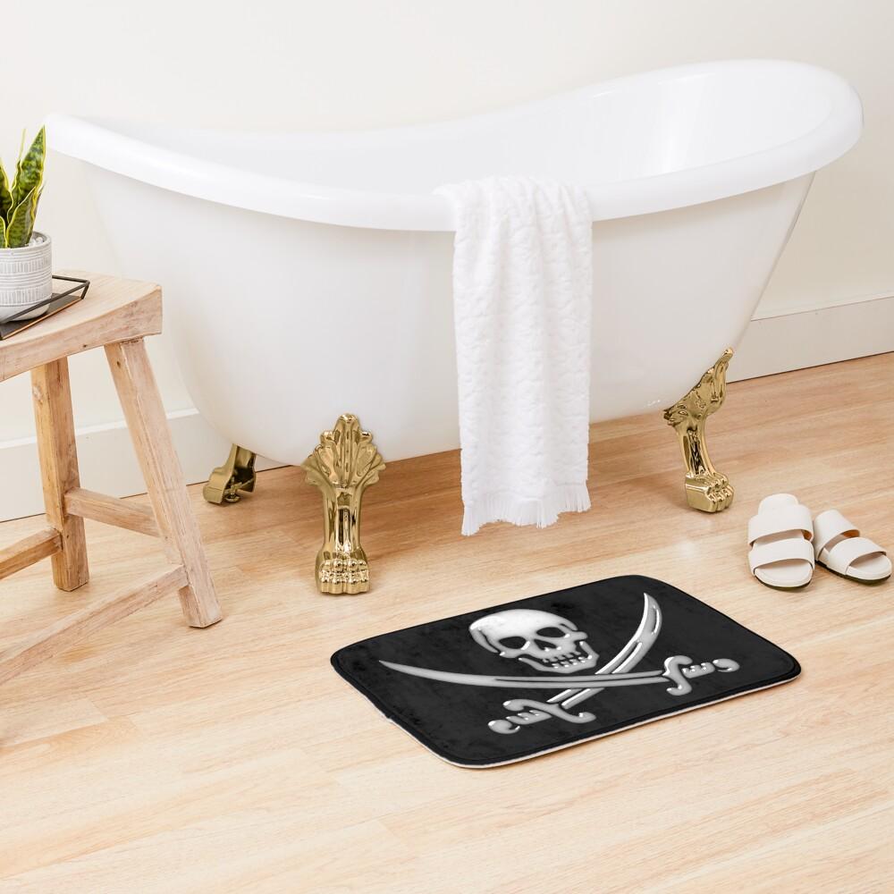 Glassy Pirate Skull & Sword Crossbones  Bath Mat