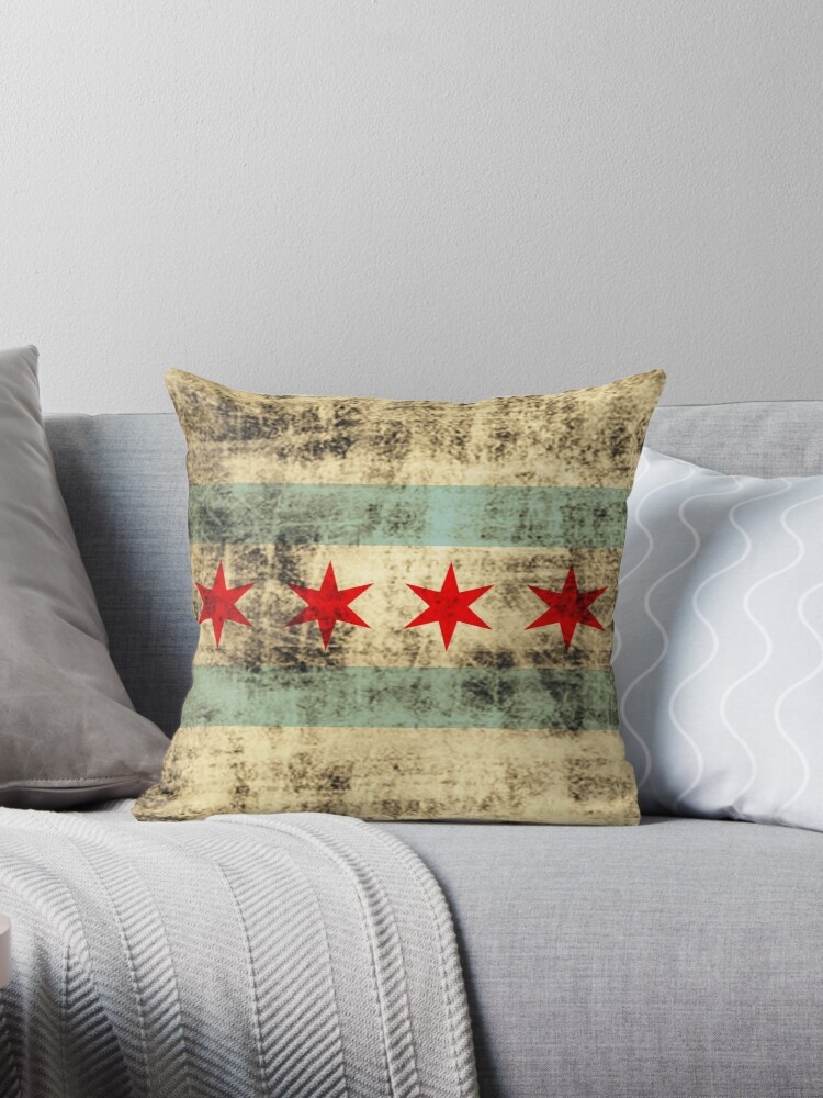 Vintage Grunge Flag of Chicago by frittata