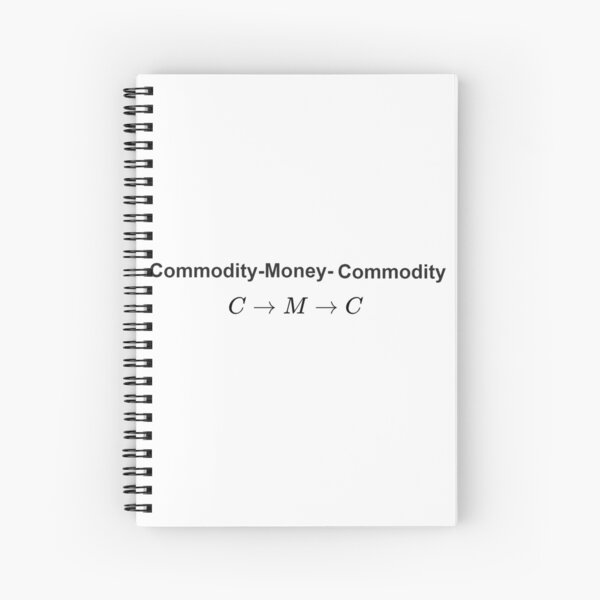 The #Metamorphosis of #Commodities.  #Marx examines the paradoxical nature of the exchange of commodities:   Commodity-#Money-Commodity  Spiral Notebook