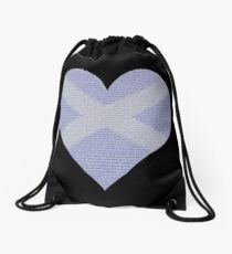 Scots Words in a Saltire in a Heart Drawstring Bag