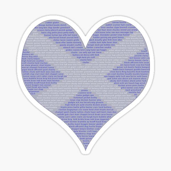 Scots Words in a Saltire in a Heart Sticker