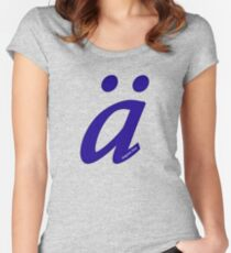 German 'a' with umlaut - navy blue Women's Fitted Scoop T-Shirt