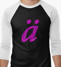 German 'a' with umlaut - purple satin colour Men's Baseball ¾ T-Shirt