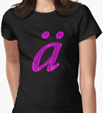 German 'a' with umlaut - purple satin colour Women's Fitted T-Shirt