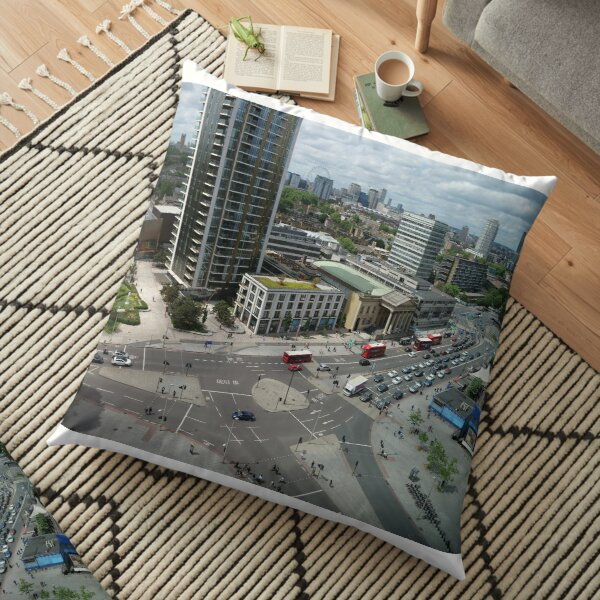 Roundabouts in London for free flow of traffic Floor Pillow