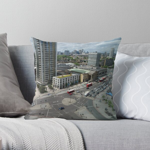 Roundabouts in London for free flow of traffic Throw Pillow
