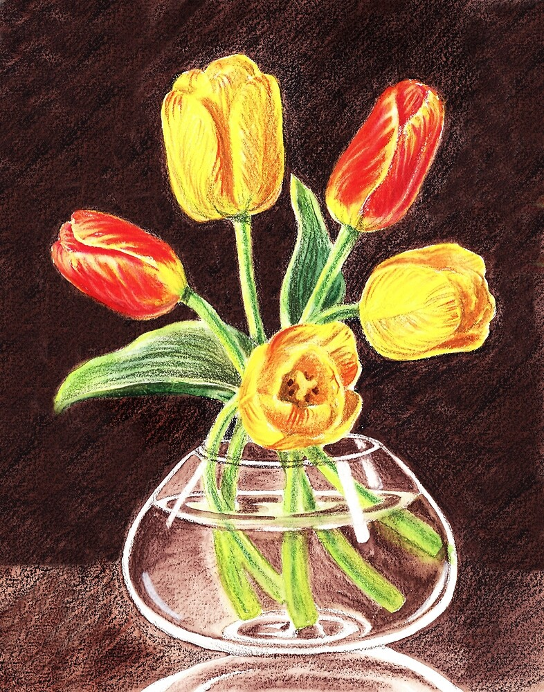 Tulips Bouquet In Red And Yellow by Irina Sztukowski