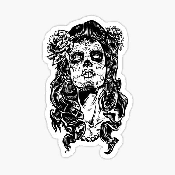en un diseño espeluznante y genial. Genial para un tatuaje si te van a entintar y quieres ideas de tatuajes. También es divertido para la celebración mexicana del Día de los Muertos Pegatina