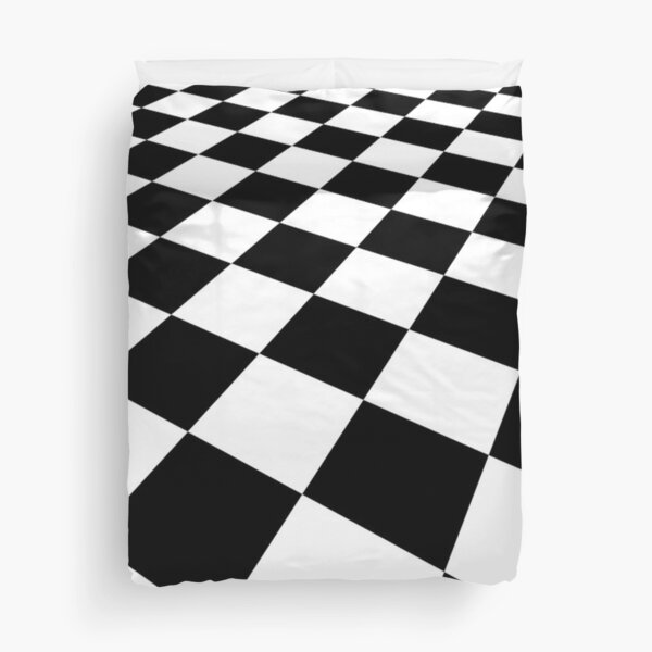 Perspective Background Black and White check. Checkered. Chequered, Checker. Duvet Cover