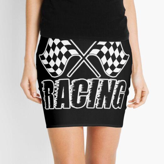 Racing Flag, Race, Checker, Chequred, Checkered, Flags. On BLACK. Mini Skirt