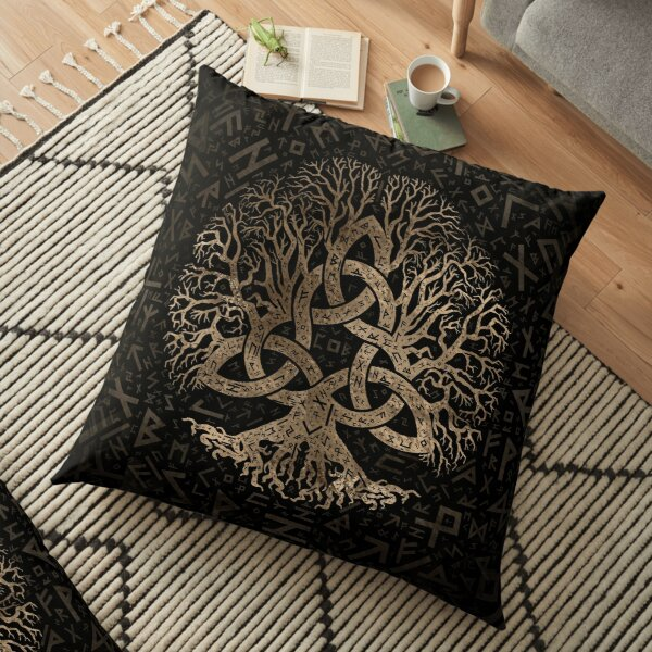 Tree of life with Triquetra on Futhark pattern Floor Pillow