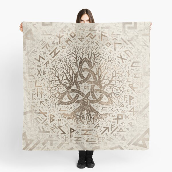 Tree of life with Triquetra and Futhark Pastel gold Scarf
