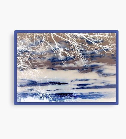 Abstract  in Blue & White Canvas Print
