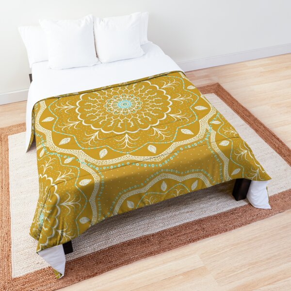 Yellow Mandala Design Comforter