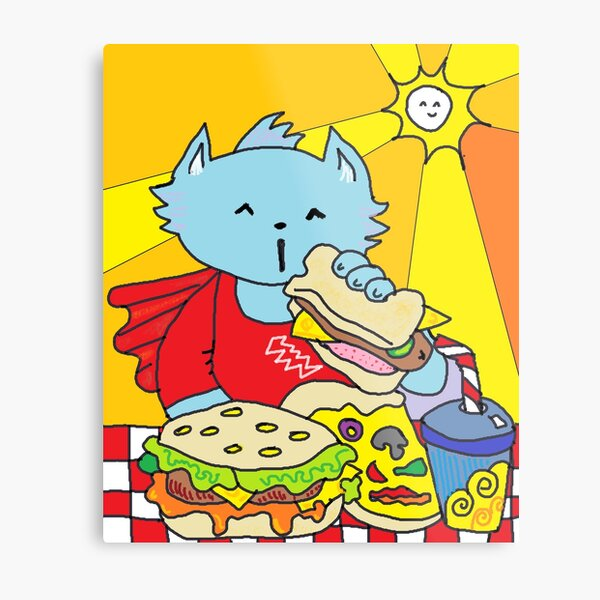 Fast Food Cat Metal Print