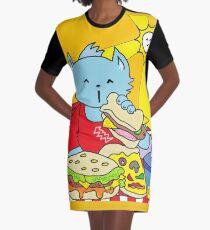 Fast Food Cat Graphic T-Shirt Dress
