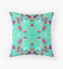 Abstract Turquoise Floral Throw Pillow