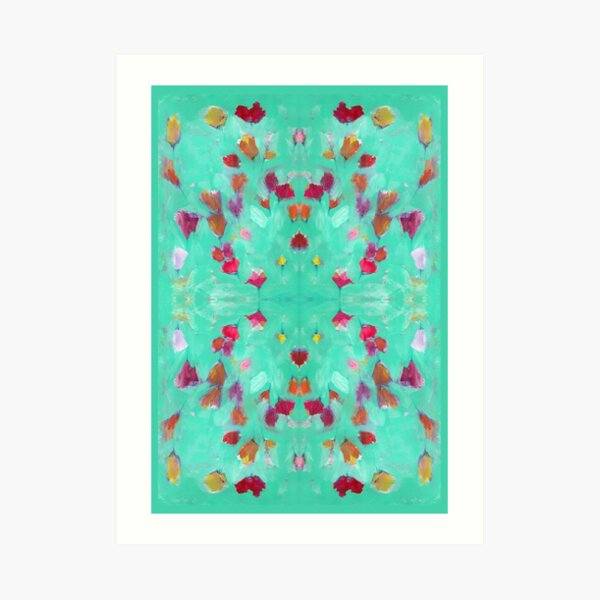 Abstract Turquoise Floral Art Print