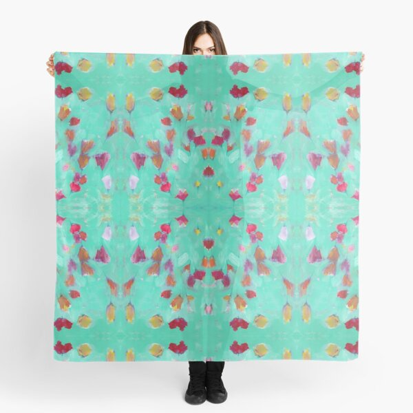 Abstract Turquoise Floral Scarf