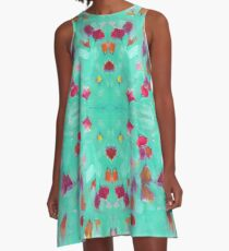 Abstract Turquoise Floral A-Line Dress
