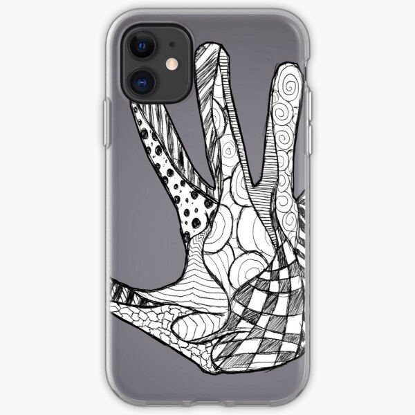 Abstract Doodle Hand (B+W) iPhone Soft Case