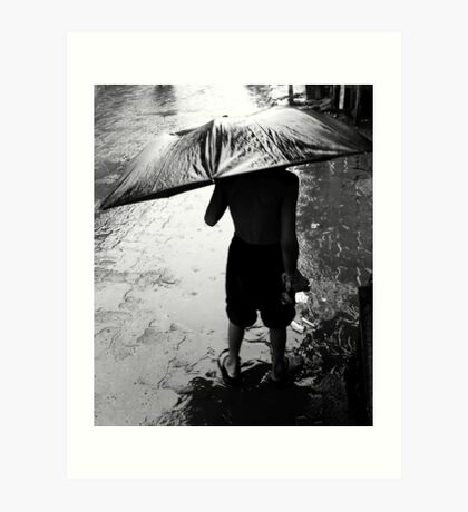 Rain and the child Art Print