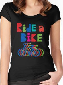 Ride a Bike sketchy - black T  Women's Fitted Scoop T-Shirt