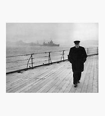Lámina fotográfica Winston Churchill en el mar