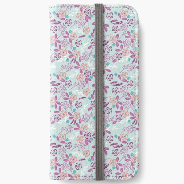 digital garden flowers pink iPhone Wallet