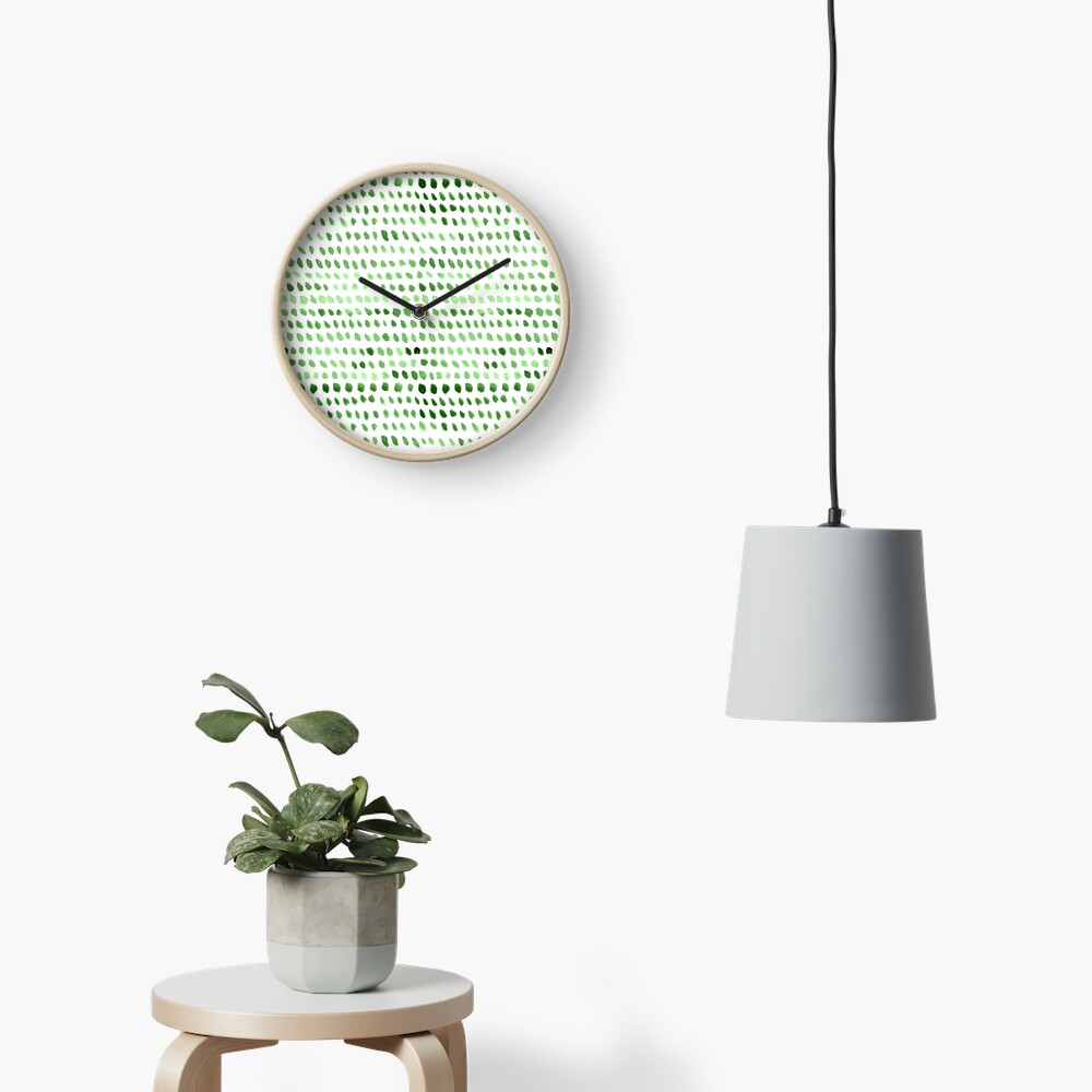 Watercolor Dots -  Green Clock