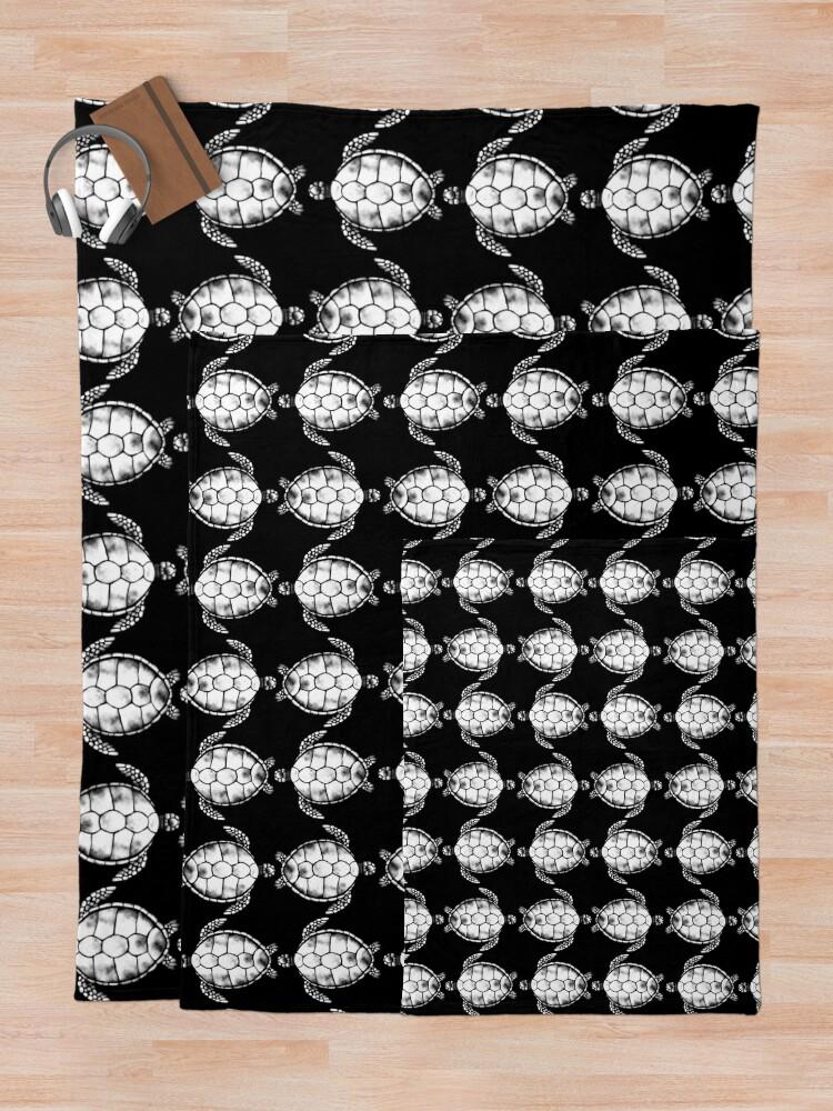 Vista alternativa de Manta Patrón blanco y negro de tortuga (versión blanca, sin líneas)