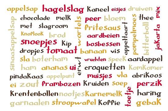 Dutch food words - retro colours by Morag Anderson