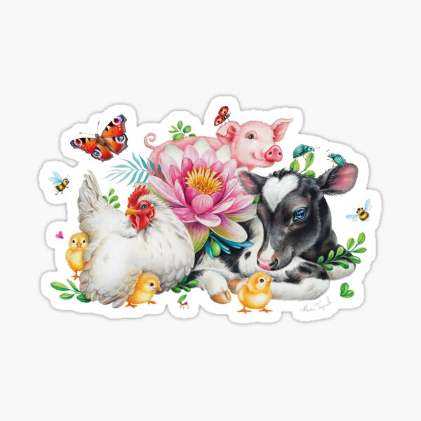 Happy animals by Maria Tiqwah Sticker
