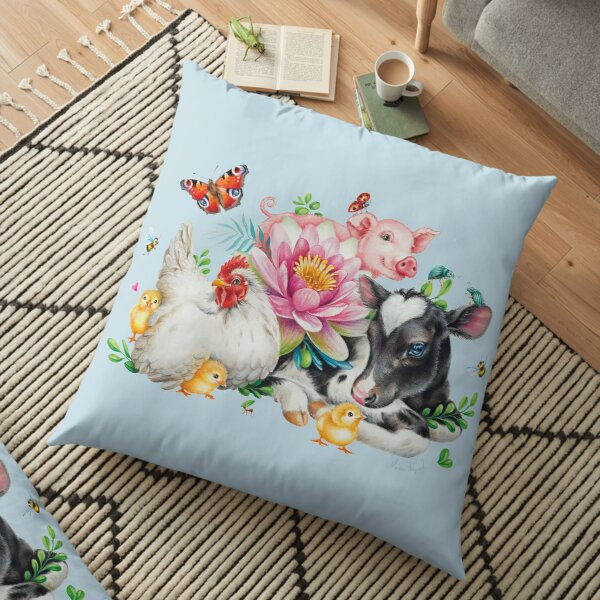 Happy animals by Maria Tiqwah Floor Pillow