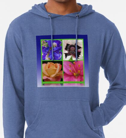 Peace Rose, Ruffled Poppy, Iris and Lily Collage Leichter Hoodie