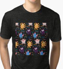 Camiseta de tejido mixto Patrón de animales jugando con el hula hoop