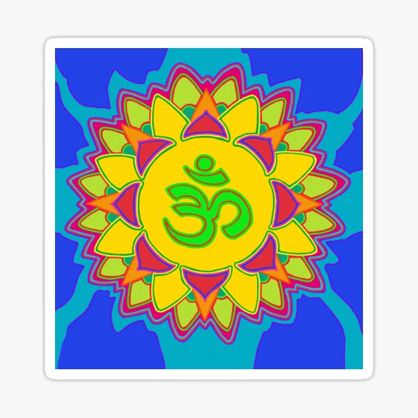 Om symbol on a colorful design Sticker