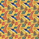 Blue Bird Leaf Yellow Pattern by scooterbaby