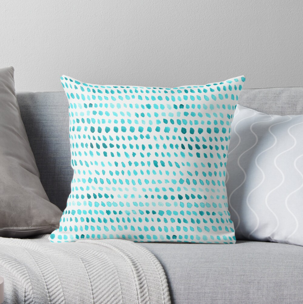 Watercolor Dots - Teal Throw Pillow