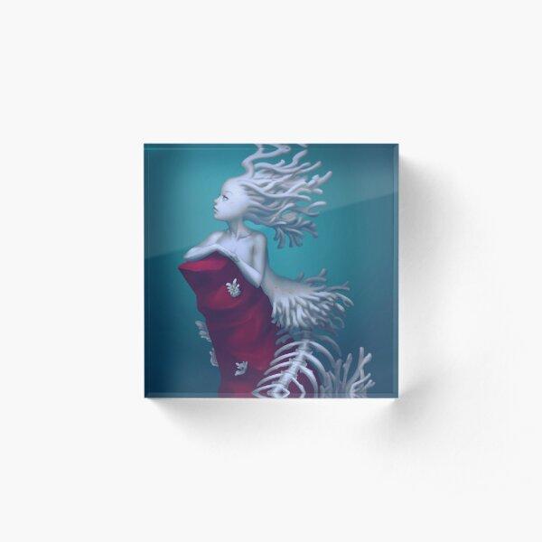 Coral Skeleton Mermaid Acrylic Block