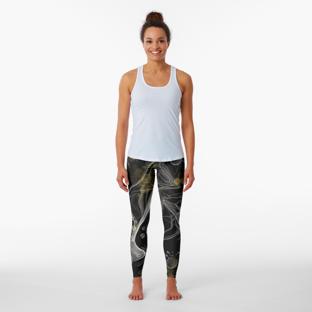 Monochrome and gold alcohol inks Leggings