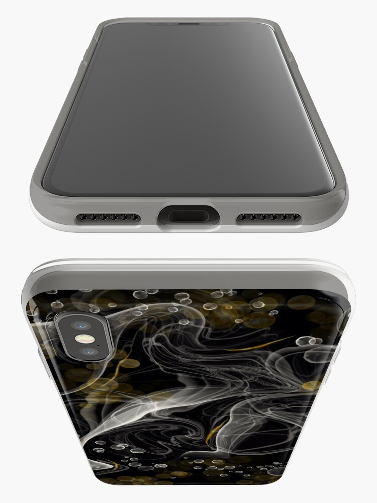 Alternate view of Monochrome and gold alcohol inks iPhone Case & Cover