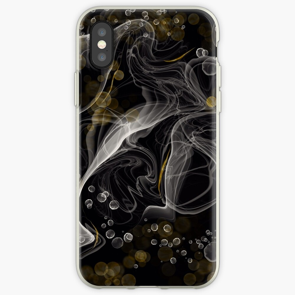 Monochrome and gold alcohol inks iPhone Case & Cover
