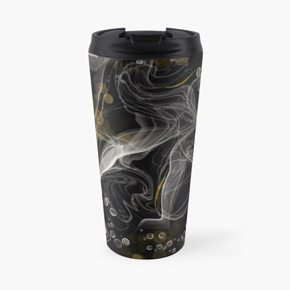 Monochrome and gold alcohol inks Travel Mug