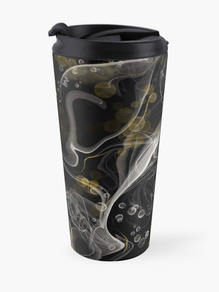 Alternate view of Monochrome and gold alcohol inks Travel Mug