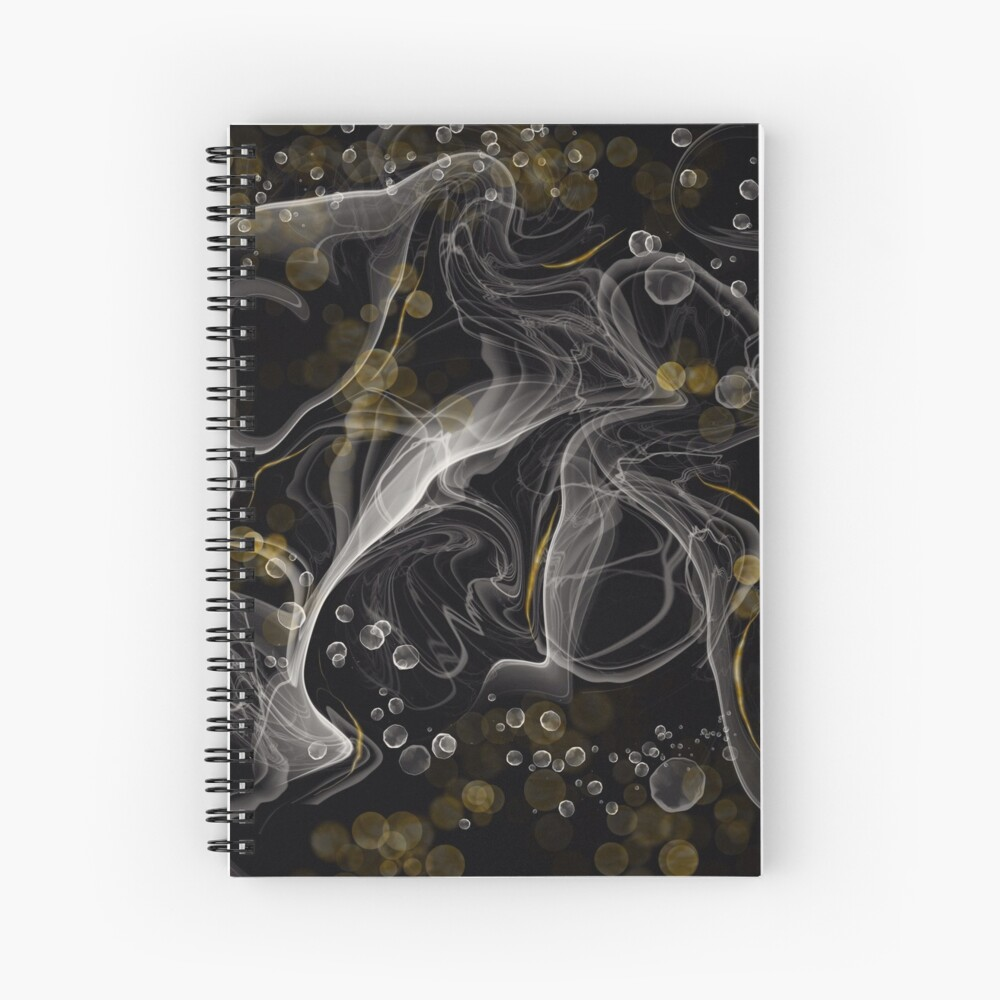 Monochrome and gold alcohol inks Spiral Notebook