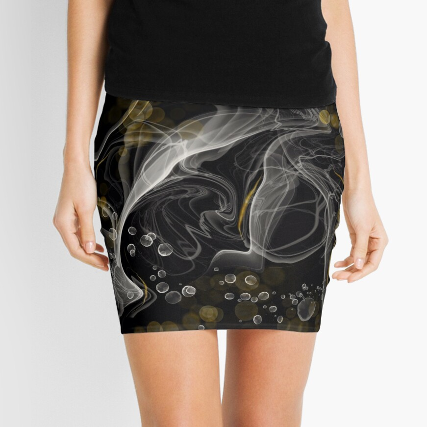 Monochrome and gold alcohol inks Mini Skirt